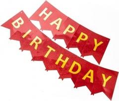 Гирлянда Флажки, Happy Birthday, Красный, Голография, 160 см, 1 шт.
