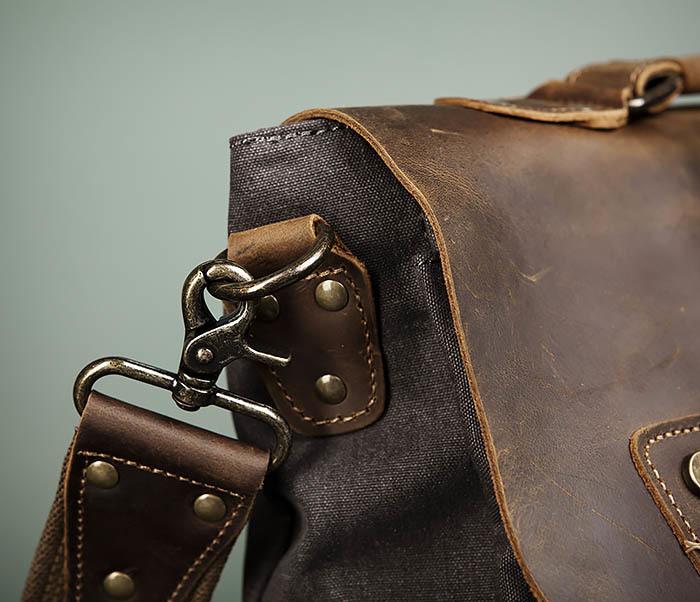 BAG474-2 Мужская сумка портфель из кожи и ткани фото 04