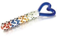 Стеклянный фаллос с ручкой-сердцем - 25 см.