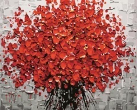 Картина раскраска по номерам 30x40 Букет красных цветов (арт. KTL0006)