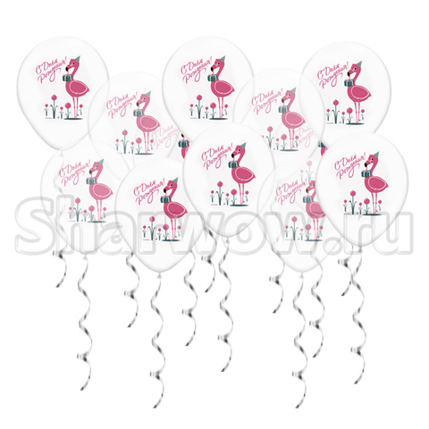 Воздушные шары под потолок фламинго