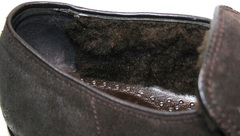 Кожаные мокасины на меху мужские Welfare 555841 Dark Brown Nubuk & Fur.