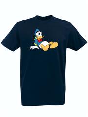 Футболка с принтом мультфильма Дональд Дак (Donald  Duck) темно-синяя 009
