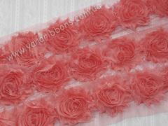 Шифоновые шебби-розы коралловые  диаметр 6 см