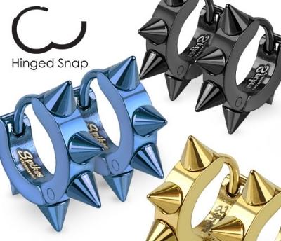SSE-025-K Мужские серьги с шипами «Spikes» из стали черного цвета