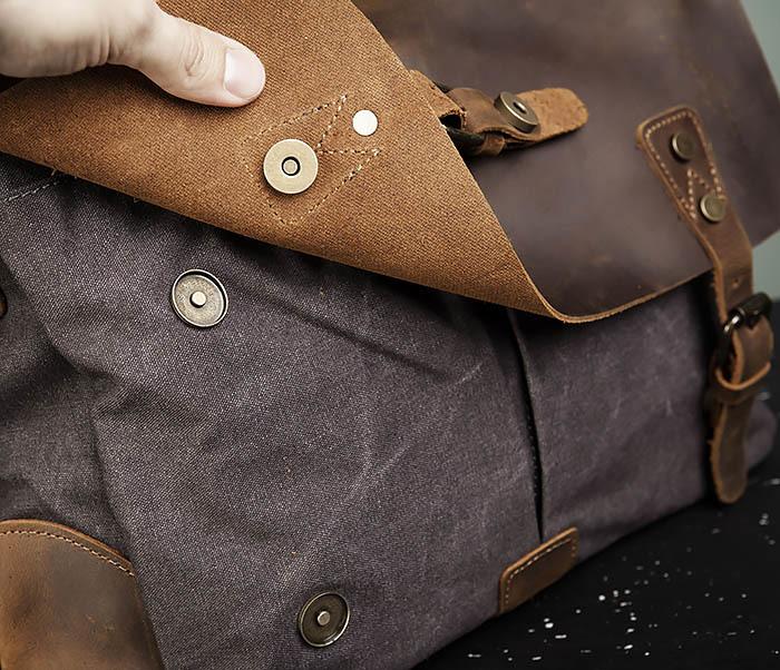 BAG474-2 Мужская сумка портфель из кожи и ткани фото 05