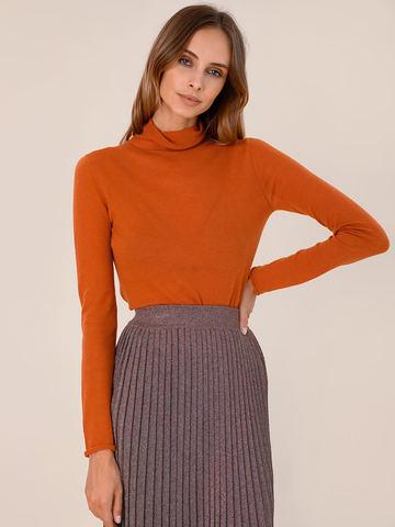 Женская водолазка оранжевого цвета из 100% шерсти - фото 2