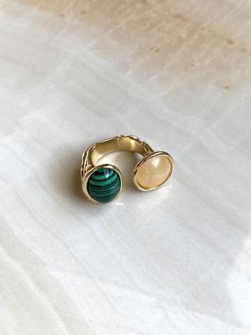 Кольцо Матисс, зеленый и бежевый камни