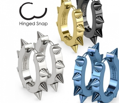 SSE-026-ST Мужские серьги «Spikes» с шипами стального цвета
