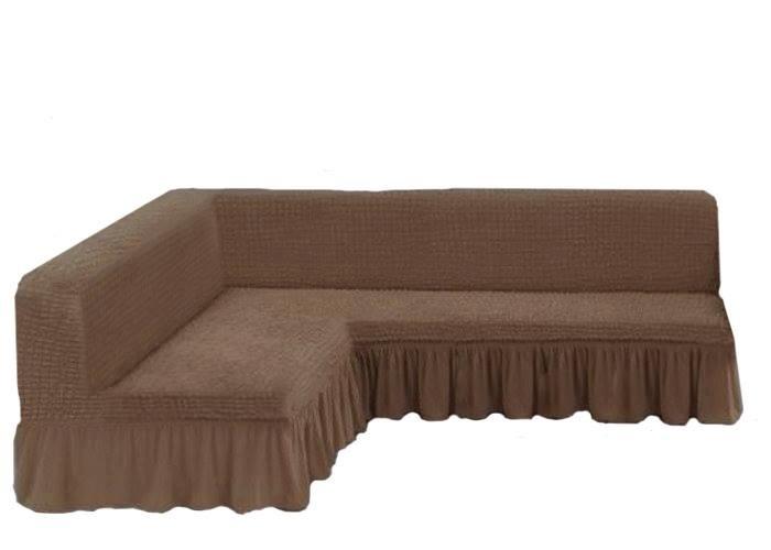 Чехол на угловой диван без подлокотников, какао