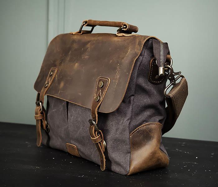 BAG474-2 Мужская сумка портфель из кожи и ткани фото 06