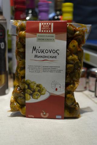 Оливки зеленые  500 гр.с перцем чили и чесноком Греция
