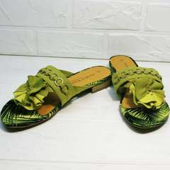 Женские шлепки шлепки с цветами Marco Tozzi 2-27104-20 Green.