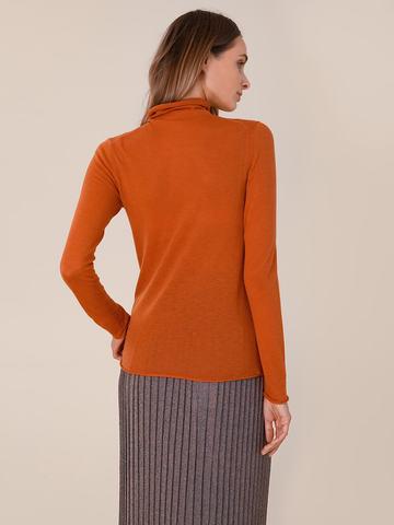 Женская водолазка оранжевого цвета из 100% шерсти - фото 4