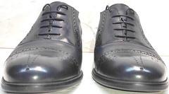 Темно синие туфли на шнуровке мужские Ikoc 3805-4 Ash Blue Leather.