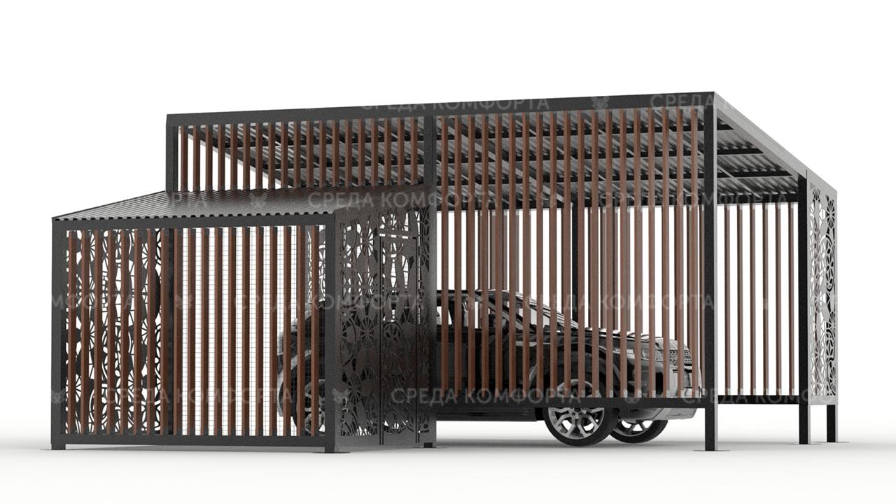 Навес для автомобиля с будкой для собаки AVNVS0043