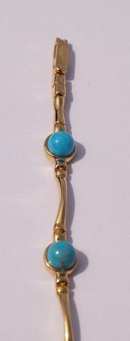 Круг с бирюзой  (серебряный браслет  с позолотой)