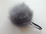 Помпон песец натуральный серый 14-16 см