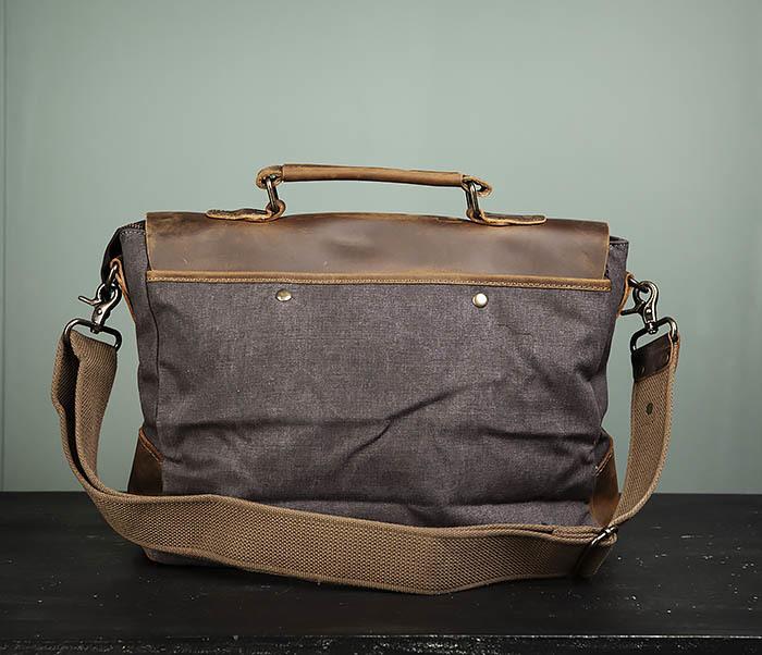 BAG474-2 Мужская сумка портфель из кожи и ткани фото 07
