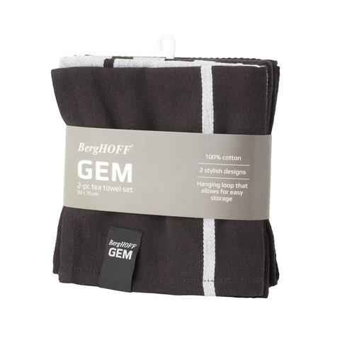 2пр набор чайных полотенец 50*70см Gem (чёрно-белые)