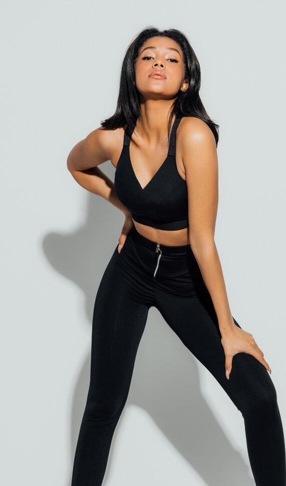Модные черные легинсы для фитнеса и посведневной носки