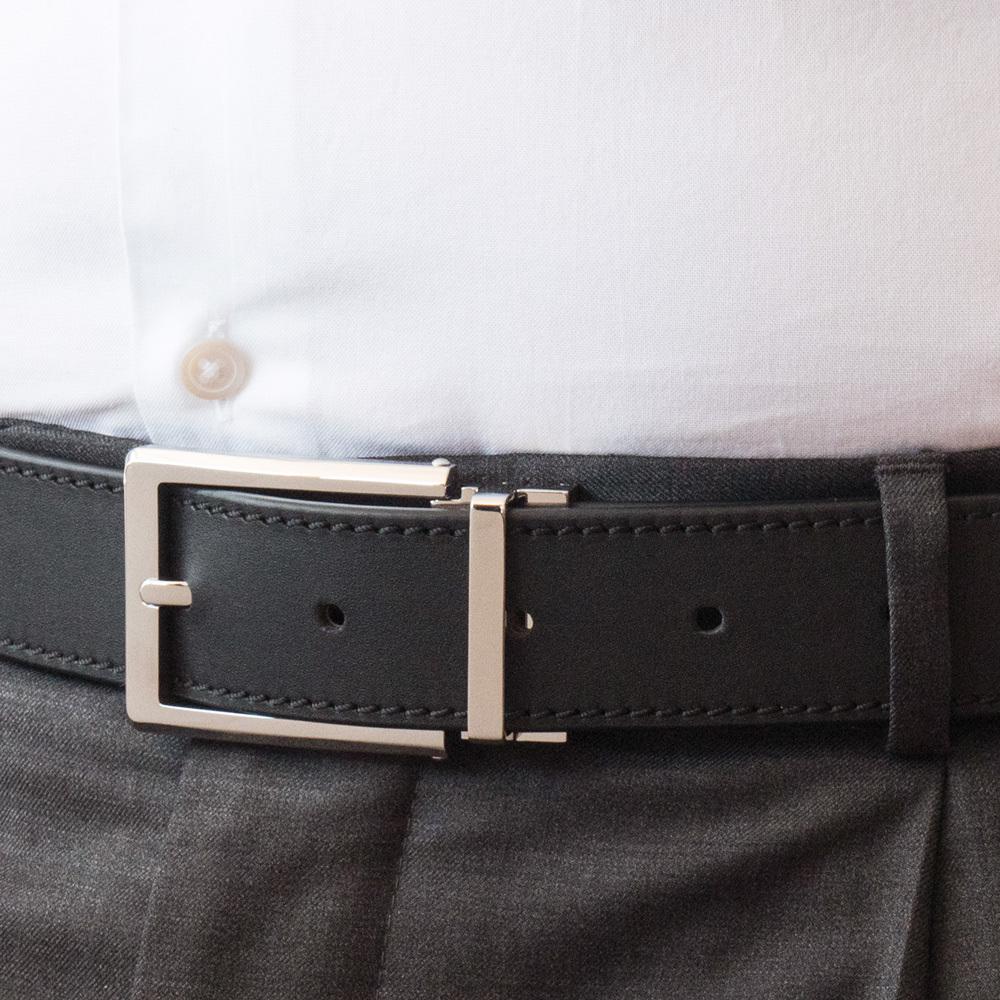 Ремень мужской из натуральной кожи теленка черного цвета ширина 35мм пряжка Сталь