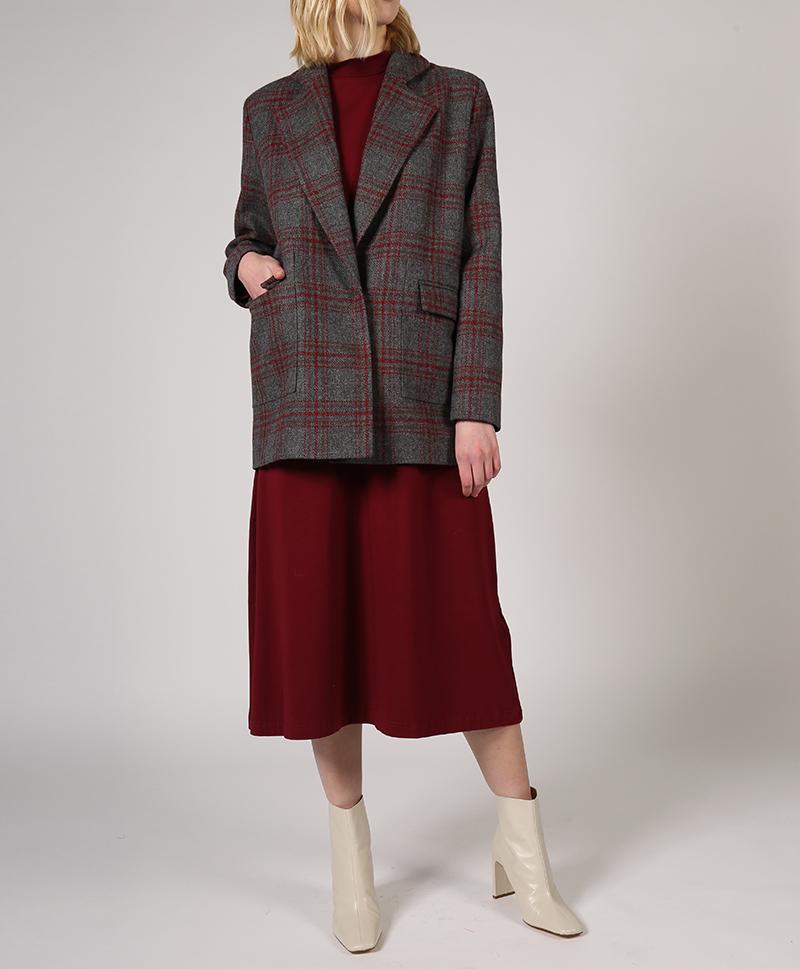 Пальто-жакет в красную клетку