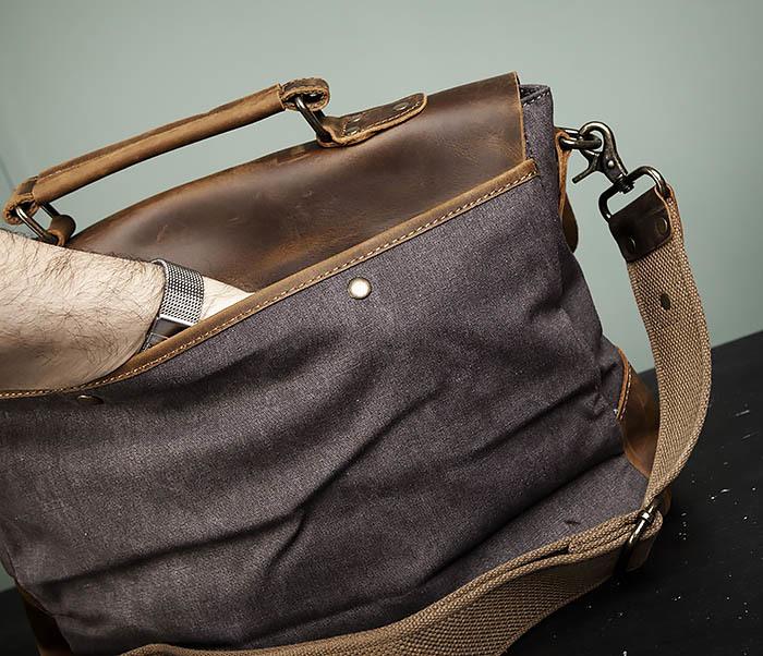 BAG474-2 Мужская сумка портфель из кожи и ткани фото 08