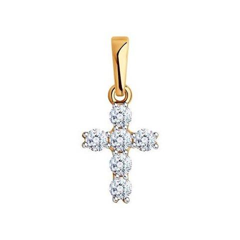 81030167 - Подвеска маленький крестик из золота с фианитами Swarovski
