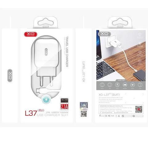 СЗУ XO L37 с кабелем microUSB (1xUSB, 2.1A) white