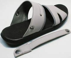 Современные сандалии шлепанцы мужские кожаные Ikoc 3294-3 Gray.