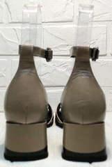 Модные летние босоножки с квадратным каблуком Derem 602-464-7674 Beige Black.