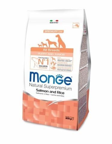 купить сухой корм Monge Speciality Line Mini Puppy&Junior All Breeds Salmone and Rice для щенков всех пород с лососем и рисом