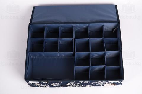 Большой складной органайзер, 24 ячейки, 46*31*12 см (темно-синий с узорами)