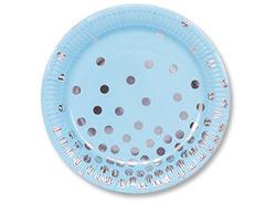 Тарелка Горошек серебряные (бумага) 17 см, 6 шт.