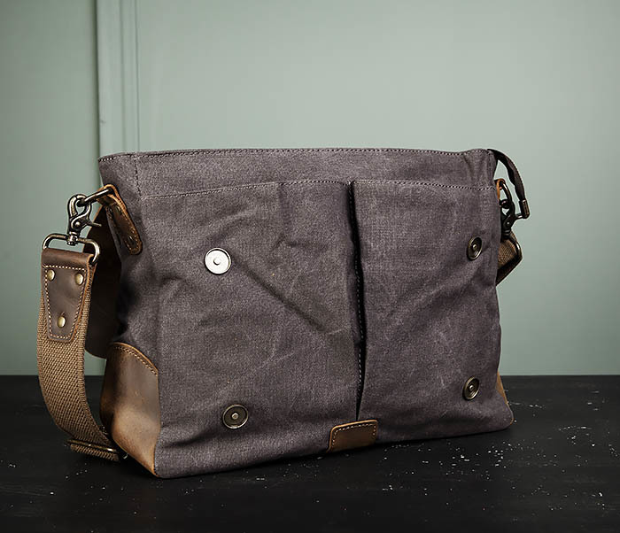 BAG474-2 Мужская сумка портфель из кожи и ткани фото 09