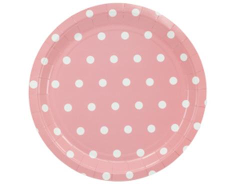 1502-3924 Тарелка Горошек розовая 23см 6шт/G