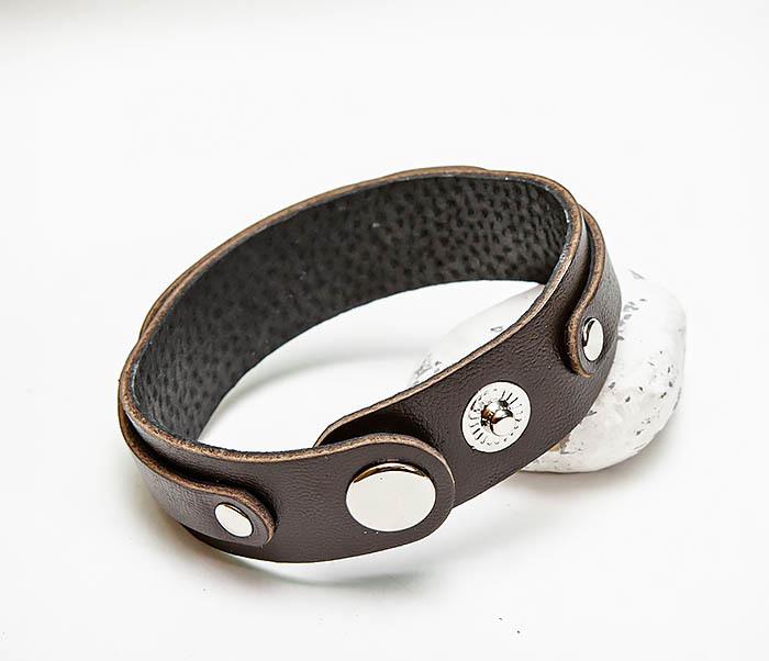 BL804-2 Коричневый кожаный браслет на застежках фото 05
