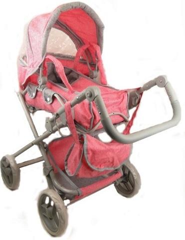 Коляска-трансформер для кукол Melobo, с сумкой, цвет розовый с серым