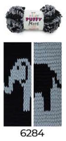 Купить Пряжа Пуффи Море цвет 6284 черный-серый | Интернет-магазин пряжи «Пряха»