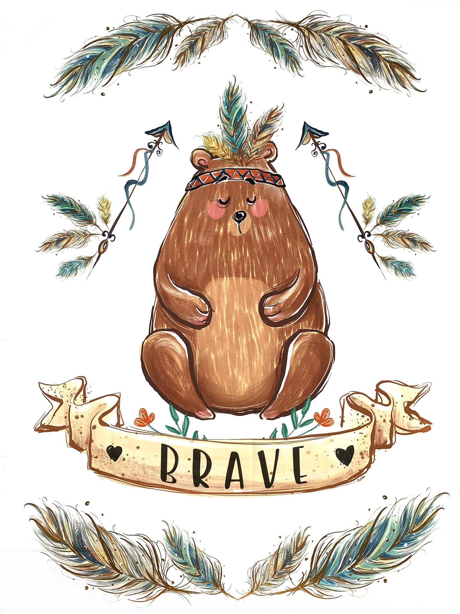 Панель(купон) мишка-brave-80*108 см