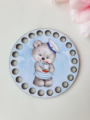 Круг диаметр 10 см, рисунок Мишутка матрос