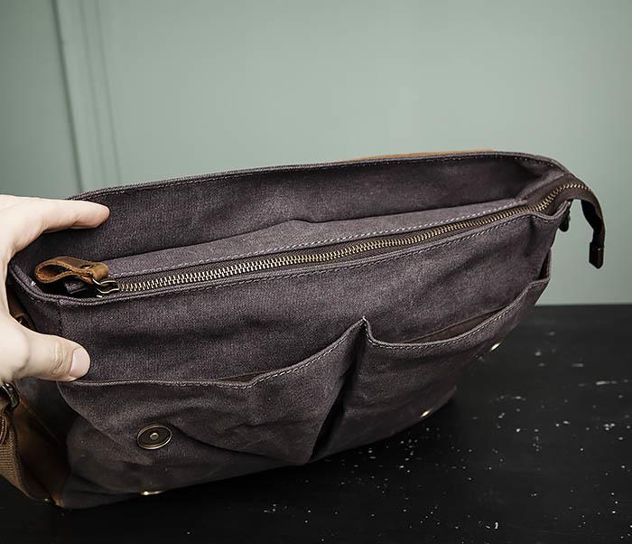 BAG474-2 Мужская сумка портфель из кожи и ткани фото 10