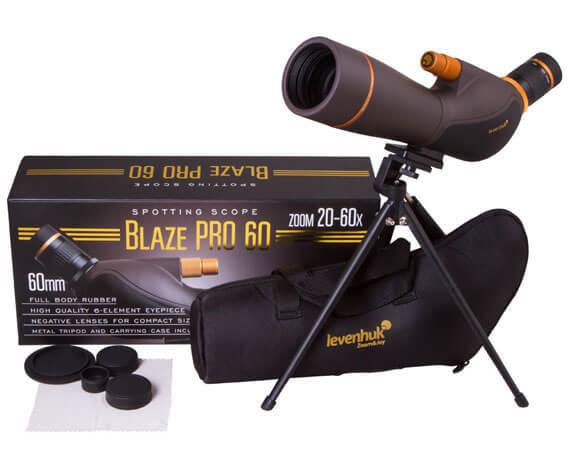 Комплект Levenhuk Blaze PRO 60: штатив, футляр, салфетка, защитные крышки