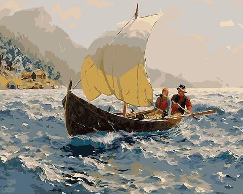 Картина раскраска по номерам 40x50 Путешествие по морю