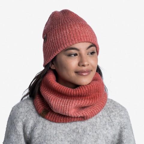 Комплект шапка шарф вязаный с флисом Buff Marin Pink фото 1
