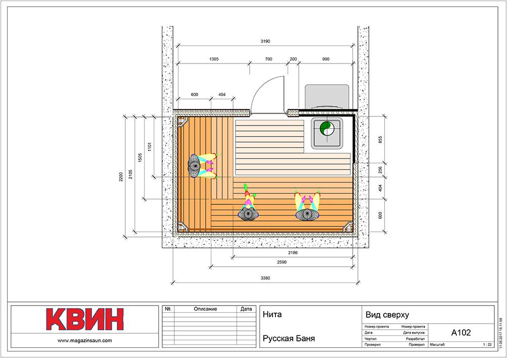 Проект сауна 2,2х3,3 материал: липа, абаш, фото 2