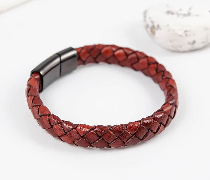 BM514-3 Плетеный мужской браслет из красной натуральной кожи фото 03