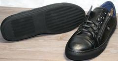 Купить черные кожаные кеды мужские Ікос 1528-1 Black