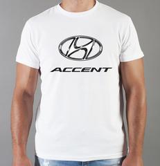 Футболка с принтом Хендай Акцент (Hyundai Accent) белая 0010